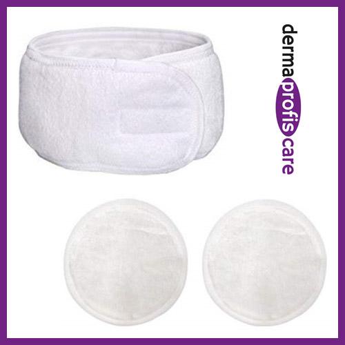 Kosmetik - Stirnband mit zwei waschbaren Abschminkpads